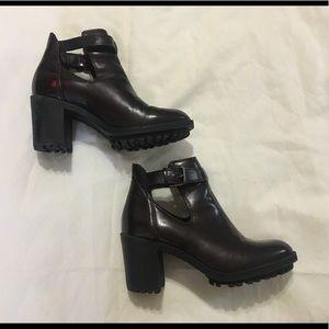 Zara Trafaluc Dark Maroon Leather Buckle Booties